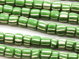 Green w/White Stripes Glass Beads 4-9mm (JV1105)
