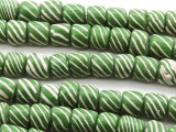 Green w/White Stripes Glass Beads 3-8mm (JV1107)
