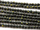 Black w/Yellow & Green Dots Glass Beads 5-6mm (JV1055)