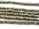 Gray w/Yellow Dots Glass Beads 4-5mm (JV1056)