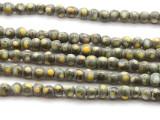 Gray w/Yellow Dots Glass Beads 4-5mm (JV1056)