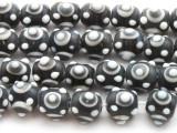 Charcoal Gray 'Eye' Glass Beads 12mm (JV1063)
