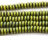 Green Rondelle Glass Beads 6-8mm (JV1165)