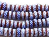 Blue, Red & White Rondelle Glass Beads 6-8mm (JV1166)