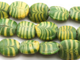 Green w/Yellow Feather Glass Beads 15-18mm (JV1167)