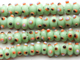 Celadon Green Rondelle w/Eyes Glass Beads 12mm (JV1172)