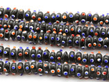 Black Rondelle w/Eyes Glass Beads 12mm (JV1175)