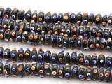 Black Rondelle w/Eyes Glass Beads 12mm (JV1175)