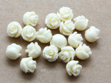 Cream Rose Resin Beads 8mm (RES529)