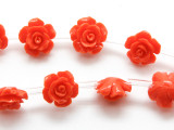 Coral Red Rose Resin Beads 12mm (RES535)