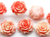 Pink & Cream Rose Resin Beads 20mm (RES539)