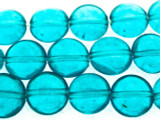 Teal Blue Round Tabular Resin Beads 14mm (RES551)