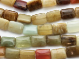 Flower Jade Rectangular Gemstone Beads 17mm (GS3349)