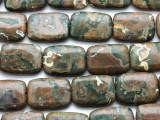 Rainforest Jasper (Rhyolite) Rectangular Tabular Gemstone Beads 23mm (GS3355)
