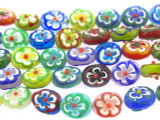 Oval Flower Lampwork Glass Beads 11mm (LW1515)