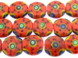Red Coin w/Designs Lampwork Glass Beads 15mm (LW1519)