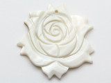 Mother of Pearl Carved Flower Shell Pendant 50-53mm (AP1453)