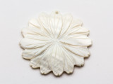 Mother of Pearl Carved Flower Shell Pendant 50mm (AP1454)