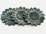 Black Lip Carved Flower Shell Pendant 48-50mm (AP1460)