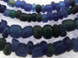 Old Jatim Majapahit Irregular Blue Glass Beads 1-5mm (RF653)