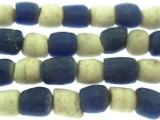 Blue & White Sandcast Glass Beads 10-13mm (SC863)