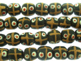 Black w/Matrix Sandcast Beads 11-12mm (SC917)