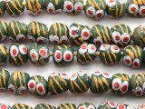 Green & Yellow Painted Sandcast Glass Beads 10-11mm (SC922)