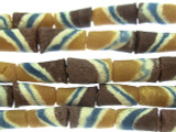 Tan, Brown & Blue Striped Tube Sandcast Beads 10mm (SC874)