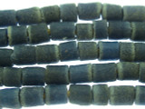 Slate Blue Tube Sandcast Glass Beads 6-7mm (SC882)