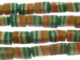 Teal & Orange Block Sandcast Glass Beads 11mm (SC895)
