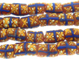 Salmon Pink, Blue & Yellow Painted Sandcast Beads 12-15mm (SC901)
