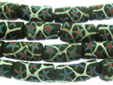 Black w/Matrix Sandcast Glass Beads 20-23mm (SC909)