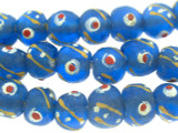 Blue Painted Recycled Glass Beads 13mm - Africa (RG592)