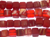 Red & White Kankanmba Cube Trade Beads 8mm - Nigeria (AT891)