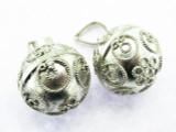 Sterling Silver Embellished Bell Pendant 16mm (AP1499)