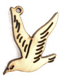 Bird (right) Wood Cut Charm 22mm (WP35)