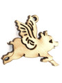 Flying Pig (left) Wood Cut Charm 19mm (WP43)