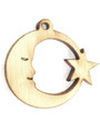 Moon & Star (left) Wood Cut Charm 17mm (WP56)