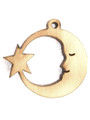 Moon & Star (right) Wood Cut Charm 17mm (WP57)