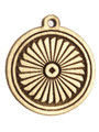 Round w/Design Wood Cut Charm 17mm (WP60)