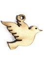 Dove (left) - Wood Cut Charm 14mm (WP63)