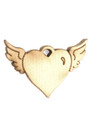 Winged Heart Wood Cut Charm 13mm (WP65)