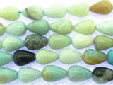 Black Gold Amazonite Teardrop Gemstone Beads 11mm (GS3457)