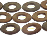 Dark Brown Oval Donut Leather Beads 30mm (LB507)