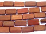 Red Rectangular Tabular Leather Beads 17mm (LB515)