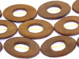 Brown Oval Donut Leather Beads 35mm (LB520)