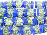 Blue w/Foil and Swirls Tabular Glass Beads 15mm (LW1527)