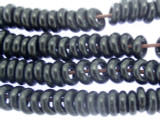 Black Rondelle Lampwork Glass Beads 7mm (LW1529)