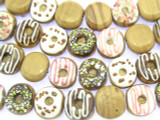 Frosted Donut Lampwork Glass Beads 18mm (LW1530)