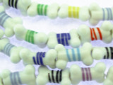 Dog Bone with Stripes Lampwork Glass Beads 17mm (LW1534)
